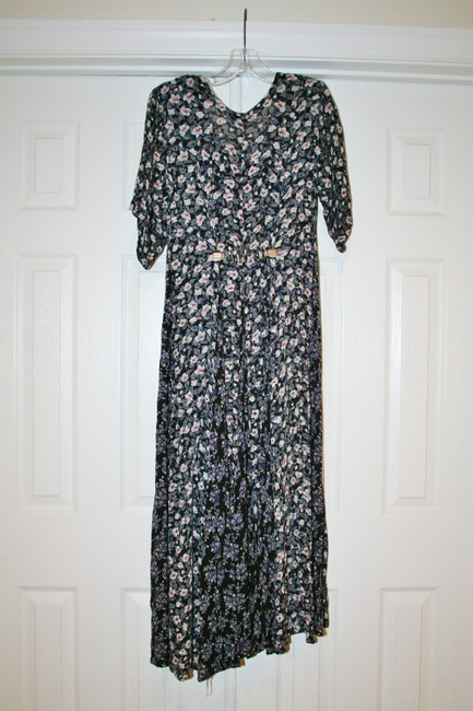 Black, white, pink, blue Maxi Dress by Nostalgia Prairie-style