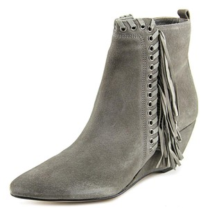 Matisse Suede Leather Fringe Wedge Ankle Grey Boots