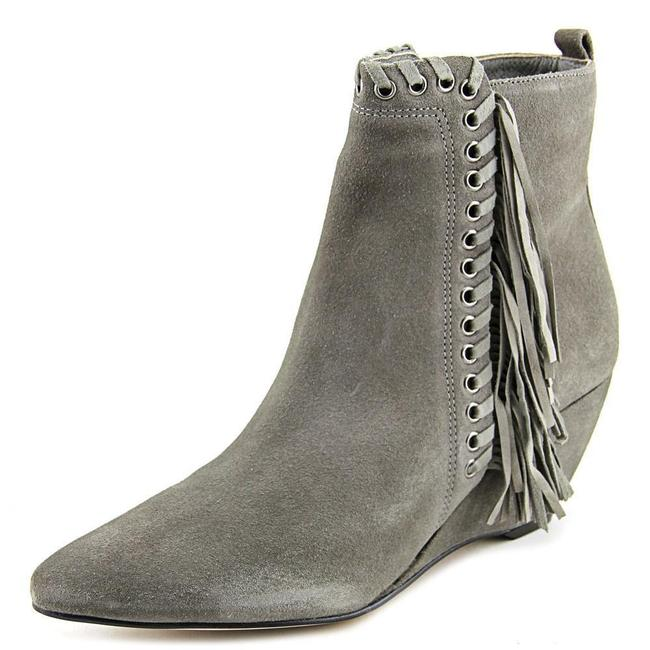 Item - Grey Sissy Suede Leather Fringe Wedge Ankle Boots/Booties Size US 9 Regular (M, B)