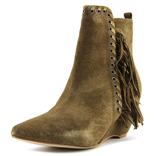 Item - Green Sissy Suede Leather Fringe Wedge Ankle Boots/Booties Size US 7 Regular (M, B)