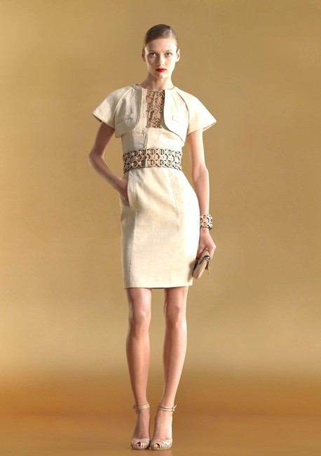 Item - Beige W Seam Cape W/Bamboo Tassel Gold Rings 42 263172 Mid-length Cocktail Dress Size 8 (M)