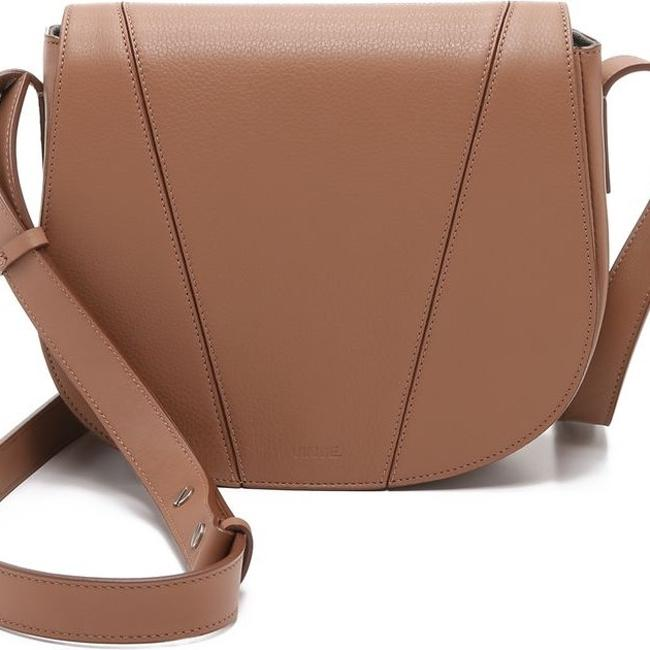 "Item - ""V"" Saddle Brown Leather Cross Body Bag"
