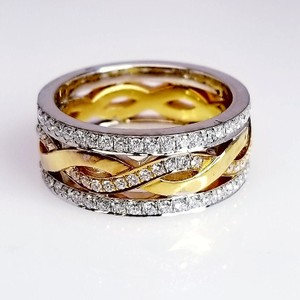 White & Yellow 18 Kt Two Tone Fashion Handmade Eternity Band Ring