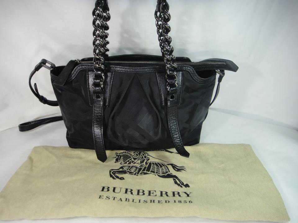 229131498153 Burberry Bowling Supernova Black Leather   Canvas Tote - Tradesy