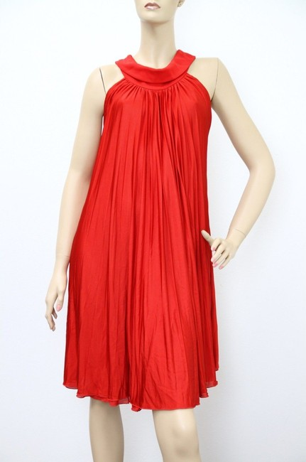 Item - Red L New Runway Pleated Halter 297328 Long Formal Dress Size 12 (L)