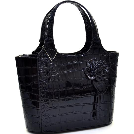 Preload https://img-static.tradesy.com/item/22380588/anais-gvani-bags-patent-croco-with-floral-accent-black-faux-leather-satchel-0-0-540-540.jpg