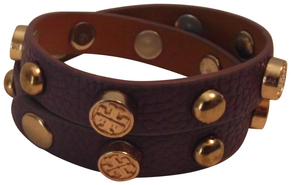 af2f8576d3281 Tory Burch Purple Gold Logo Studded Double Wrap Bracelet - Tradesy