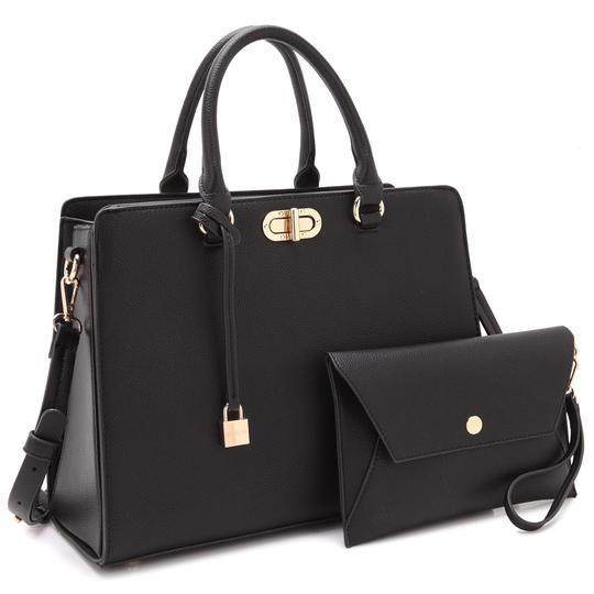 Preload https://img-static.tradesy.com/item/22380627/anais-gvani-bags-with-twist-lock-and-matching-wristlet-black-faux-leather-satchel-0-0-540-540.jpg