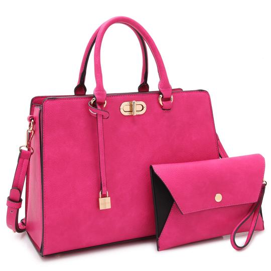 Preload https://img-static.tradesy.com/item/22380652/anais-gvani-bags-with-twist-lock-and-matching-wristlet-pink-faux-leather-satchel-0-0-540-540.jpg