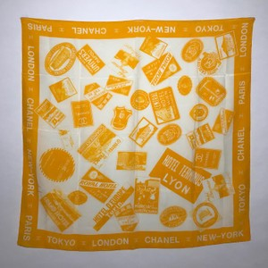 Chanel Chanel Yellow and Off White Logo and Travel Stamp Printed Silk Scarf