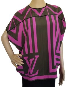 64d75f431a2194 Louis Vuitton Pink Green Lv Logo Print Sleeveless Silk Blouse Size 6 ...