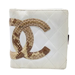 Chanel Quilted Ligne Cambon Python CC Compact French Purse Wallet