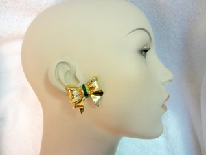 Other Bow Clip Earrings Gold Plated Green Crystals Vintage Signed --Superb!