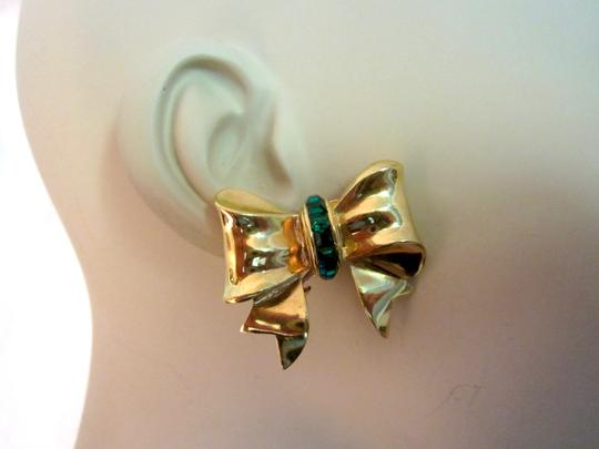 Other Bow Clip Earrings Gold Plated Green Crystals Vintage Signed --Superb! Image 2