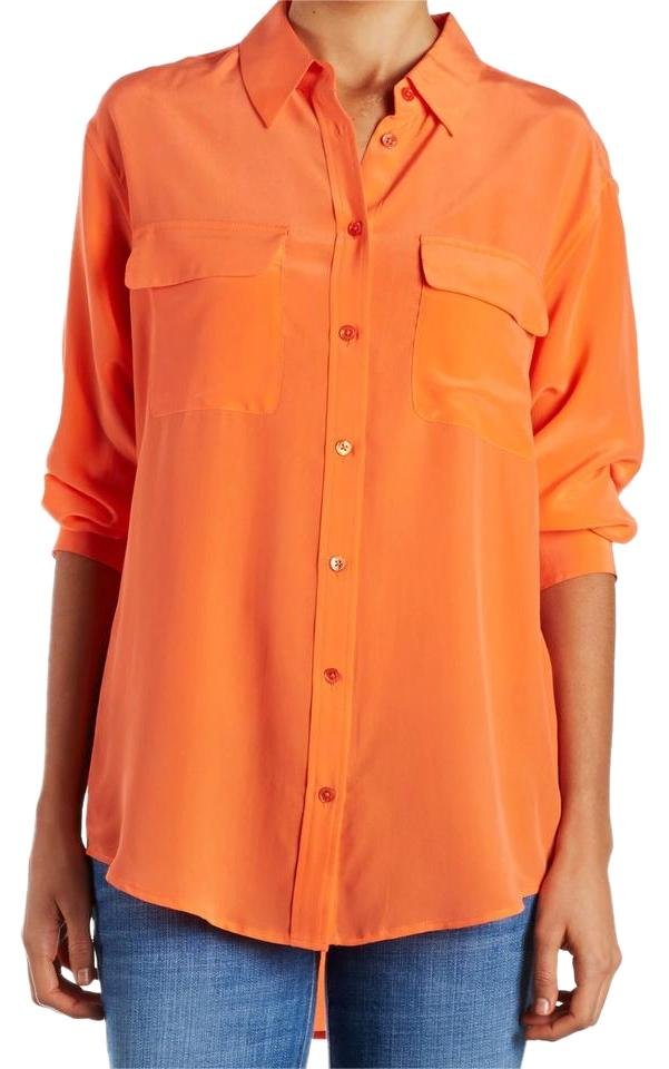 e1e2b1a622ab6 Equipment Orange Signature Silk Button Up Shirt Button-down Top Size ...