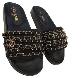 Chanel Chain Flat Slide Slides blue Sandals