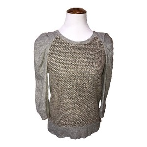 Anthropologie Top gray taupe cream brown