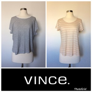Vince T Shirt Peach/White Black/White