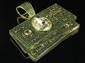 Jewelry Unlimited 10K Yellow Gold Green Diamond 100 Dollar Bill Stack Pendant 3 Ct 1.75""