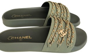 Chanel green Sandals