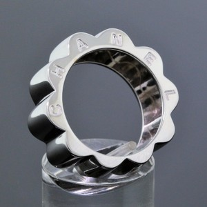 Chanel CHANEL Jewelry 18K White Gold Profil De Camelia Wavy Wide Ring Size 7