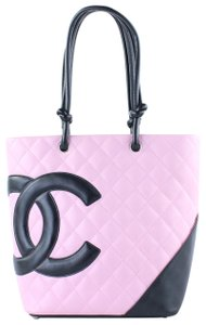 Chanel Cambon And Black Cc Quilted Lambskin Petite Shopper Tote in Pink