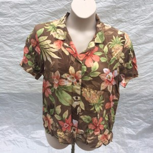 Alfred Dunner Button Down Shirt Brown, Orange and Green