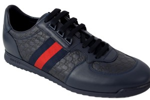 Gucci Blue Men's 233334 Leather Gg Ssima Trainers 9 Shoes
