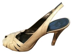 Jessica Simpson Peep Toe Slingback Cream Patent Pumps