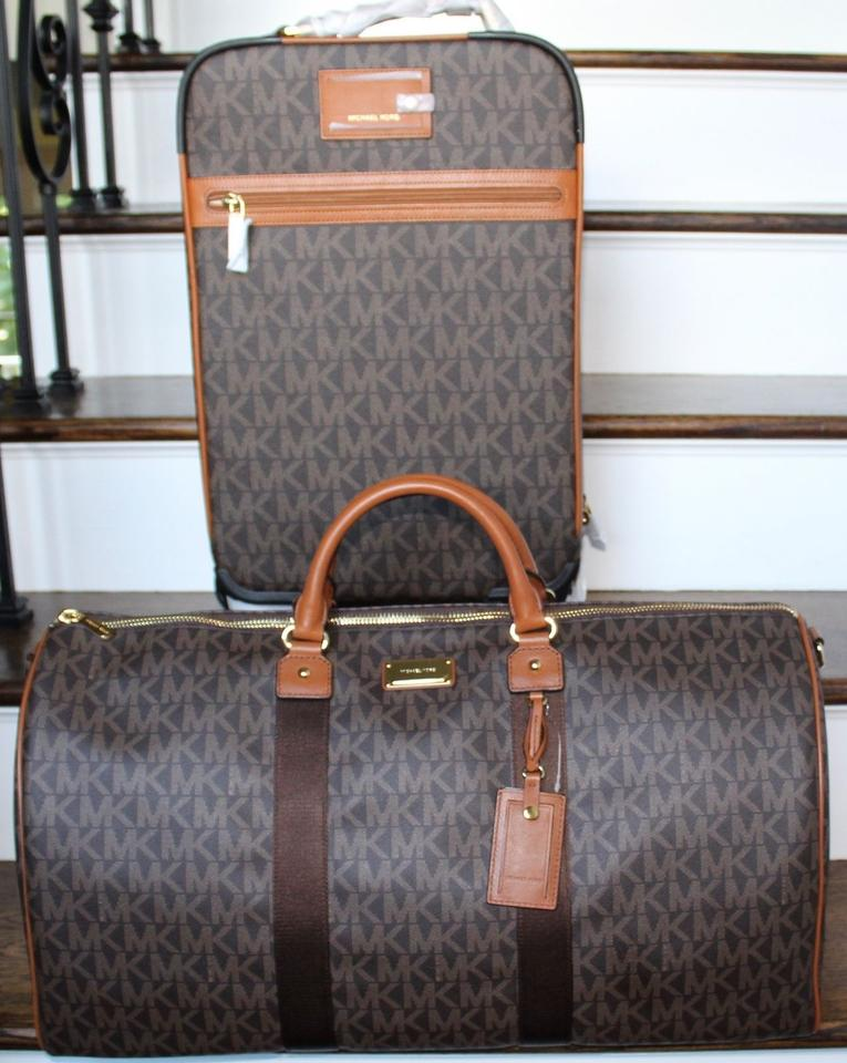Michael Kors Mk Weekenders Jet Set Duffle Monogram Trolley Suitcase Luggage Brown Travel Bag