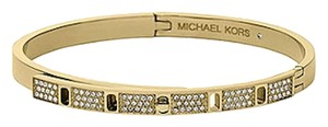 Michael Kors NEW WITH TAGS! Michael Kors Clear Pave Turn Lock Hinge Bangle Bracelet Golden