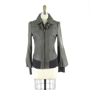 Mackage Leather Bomber Bell Sleeves Gray Jacket
