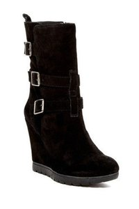 Arturo Chiang Suede Leather Wedge Black Boots