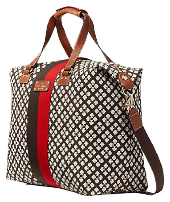 Item - Classic Juliet Chocolate Red White Canvas/Leather Weekend/Travel Bag
