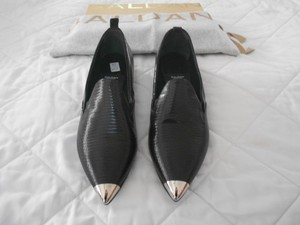 Baldan Reptile Embossed Metallic Cap Toe Stylish Made In Italy Black Flats