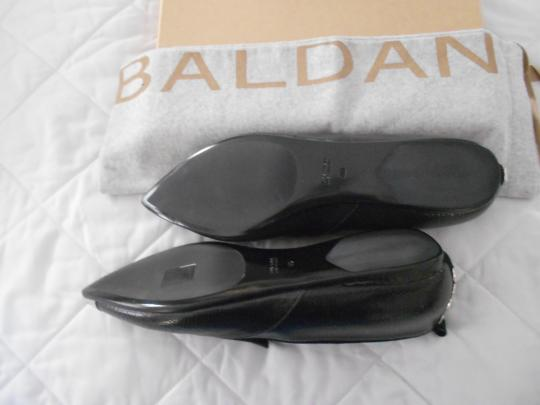 Baldan Reptile Embossed Metallic Cap Toe Stylish Made In Italy Black Flats Image 5