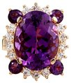 Other 16.85 Carats Natural Amethyst and Diamond 14K Yellow Gold Ring Image 0