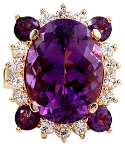 Other 16.85 Carats Natural Amethyst and Diamond 14K Yellow Gold Ring
