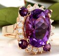 Other 16.85 Carats Natural Amethyst and Diamond 14K Yellow Gold Ring Image 1