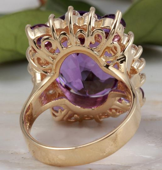 Other 16.85 Carats Natural Amethyst and Diamond 14K Yellow Gold Ring Image 2