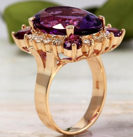 Other 16.85 Carats Natural Amethyst and Diamond 14K Yellow Gold Ring Image 3