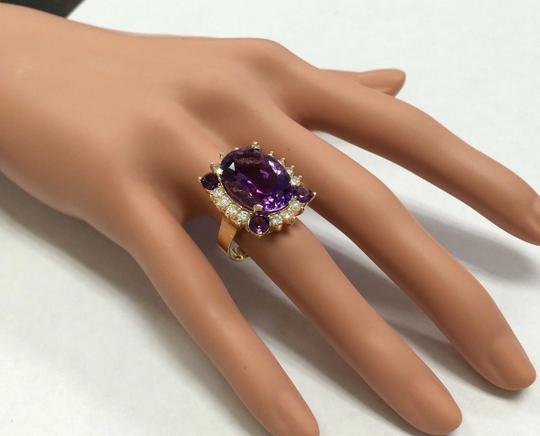 Other 16.85 Carats Natural Amethyst and Diamond 14K Yellow Gold Ring Image 4