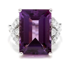 Other 14.70 Carats Natural Amethyst and Diamond 14K White Gold Ring