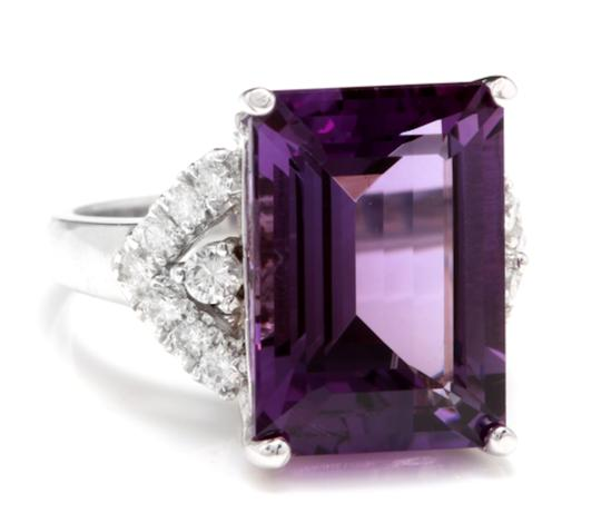 Other 14.70 Carats Natural Amethyst and Diamond 14K White Gold Ring Image 1