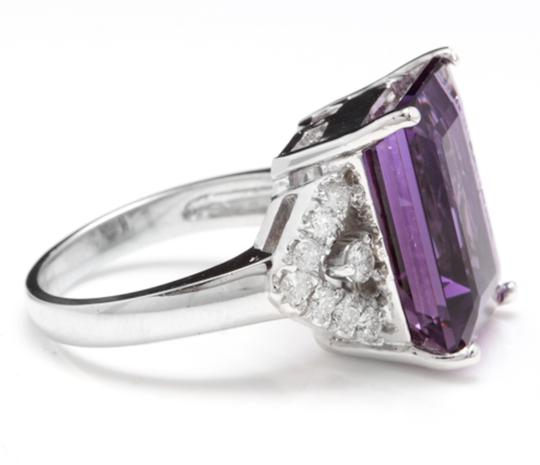 Other 14.70 Carats Natural Amethyst and Diamond 14K White Gold Ring Image 2