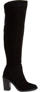 Vince Camuto Suede Leather Over The Knee Tall Black Boots