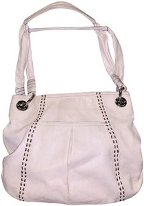 B. Makowsky Leather Silver Whip Stitch Stitched Shoulder Bag