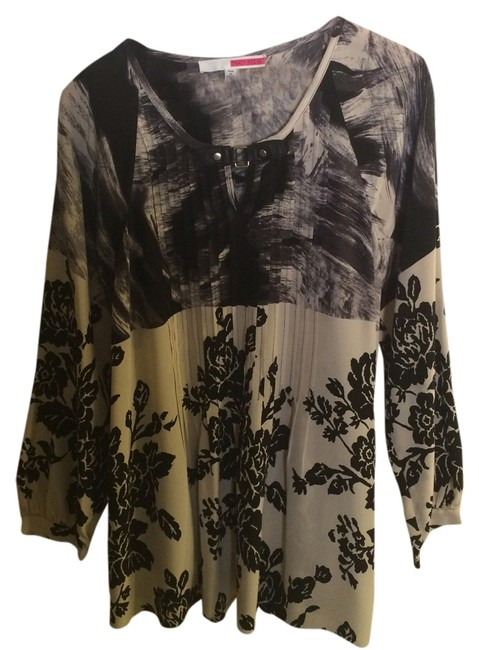 Tracy Reese Tunic Buckle Silk Top Black/Cream