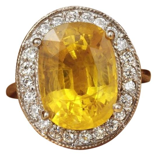 Other 10.85Ct Natural Unheated Yellow Sapphire & Diamond 14K White Gold Ring Image 0