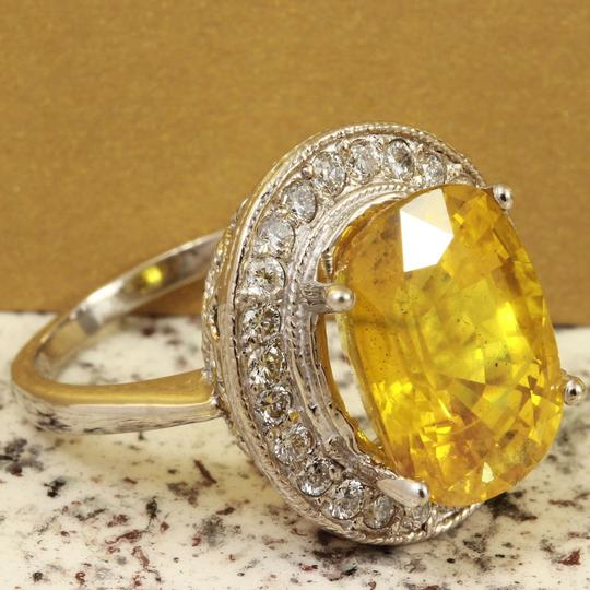 Other 10.85Ct Natural Unheated Yellow Sapphire & Diamond 14K White Gold Ring Image 1